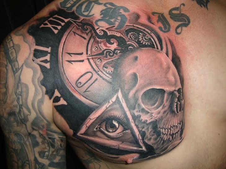 skull,clock chest