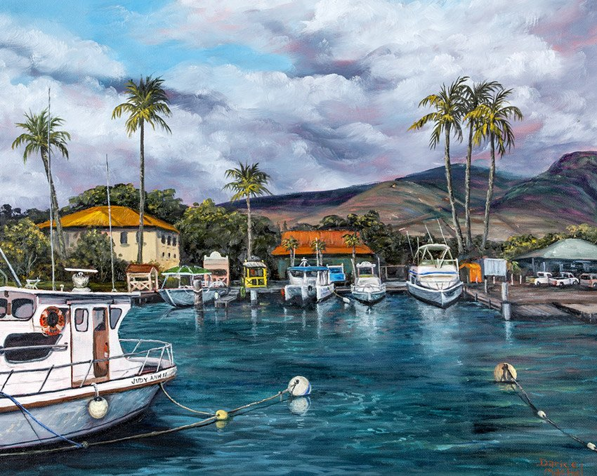 Lahaina harbor by Hawaiian Painter Darice Machel McGuire