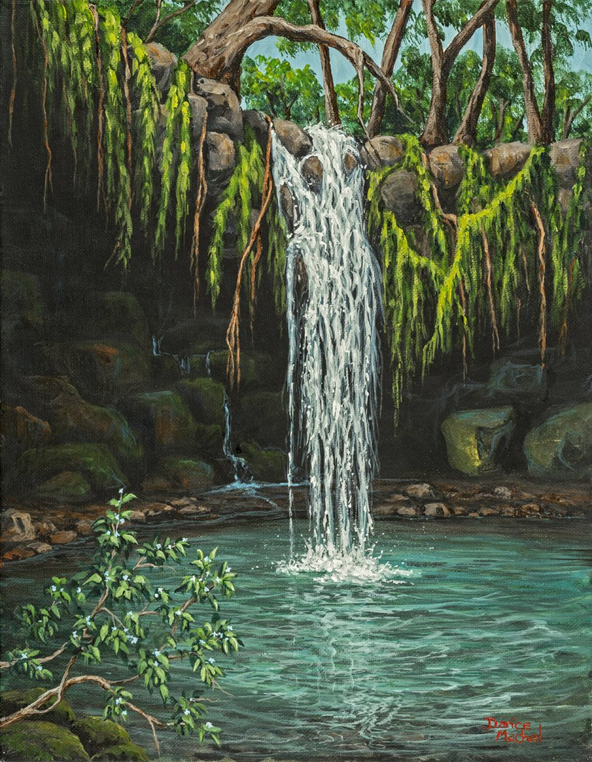 Twinfalls by Hawaiian Painter Darice Machel McGuire