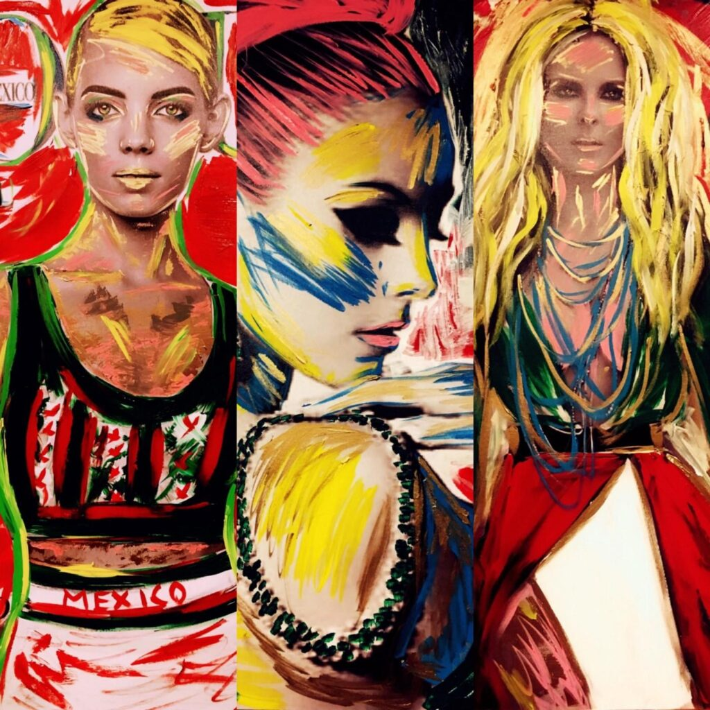 A triptych of Gilda Garza's painted images Top Model The Queen of the Universe and Ella La Noble
