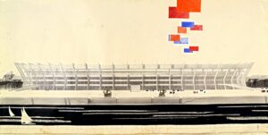 M. Bubnov and others Luzhniki reconstruction project for the Olympics Panorama from the Moscow River side 1979 Paper, pencil, ink, gouache, applique 103x600