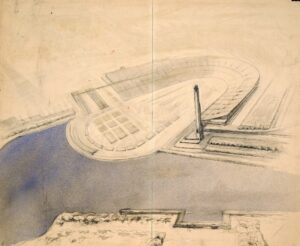 A. Andriasian, G. Isabekian, S. Susokolov, N. Tsygankov, consultant P. Ratov Stalin Central Stadium. 2nd competition Axonometry 1933 Paper, pencil, color pencil, ink, watercolor 118x143