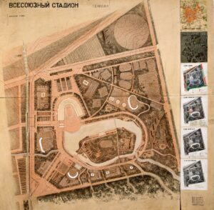 A. Andriasian, G. Isabekian, S. Susokolov, N. Tsygankov, consultant P. Ratov Stalin Central Stadium. 2nd competition Master Plan 1933 Paper, pencil, ink, watercolor, white, applique 142x145