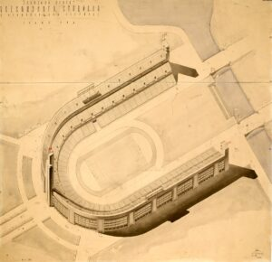 L. Langman, L. Cherikover Stalin Central Stadium. 1st competition Axonometry 1932, Paper, pencil, ink, watercolor 107x109