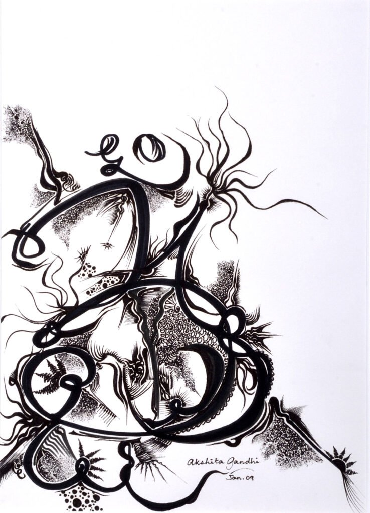 Aum, mixed media on paper, by Painter Akshita Gandhi