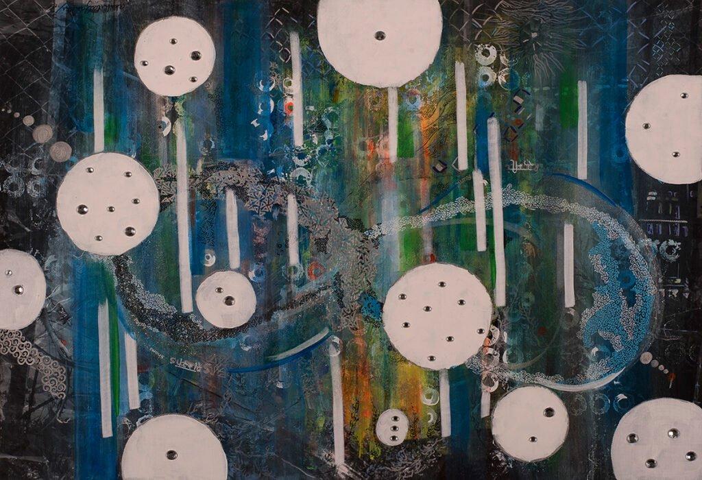 Rumi and Shams, mixed media on canvas, by Painter Akshita Gandhi