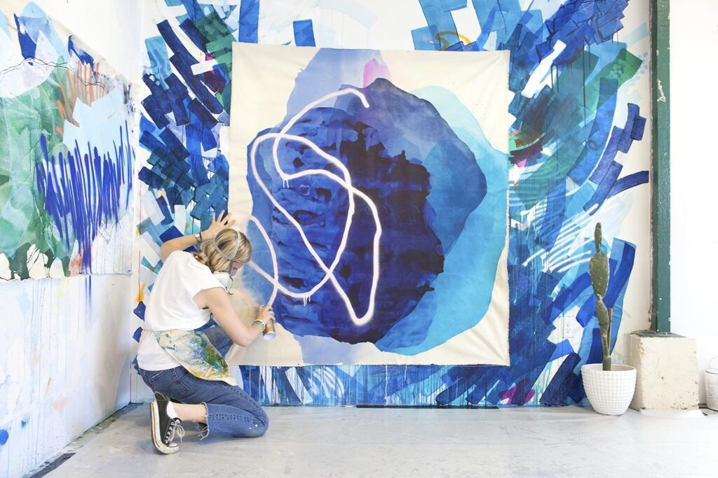 Abstract Painter Rebecca Youssef in her studio